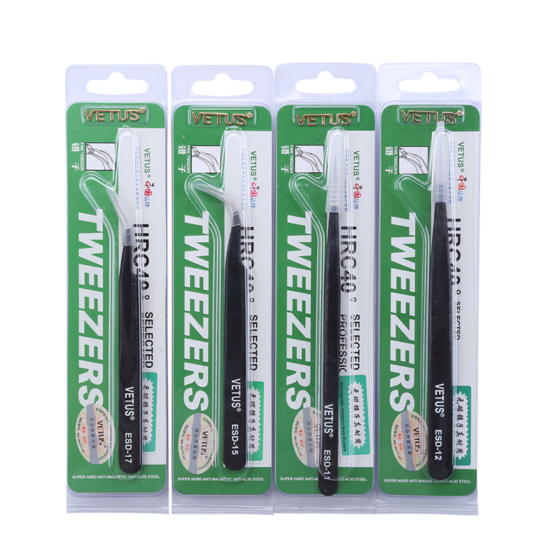 Anti-Static Stainless Steel VETUS Tweezers Pinzas ESD Series Industrial Tweezers Electronic Mobile Phone Repair Hand Tools