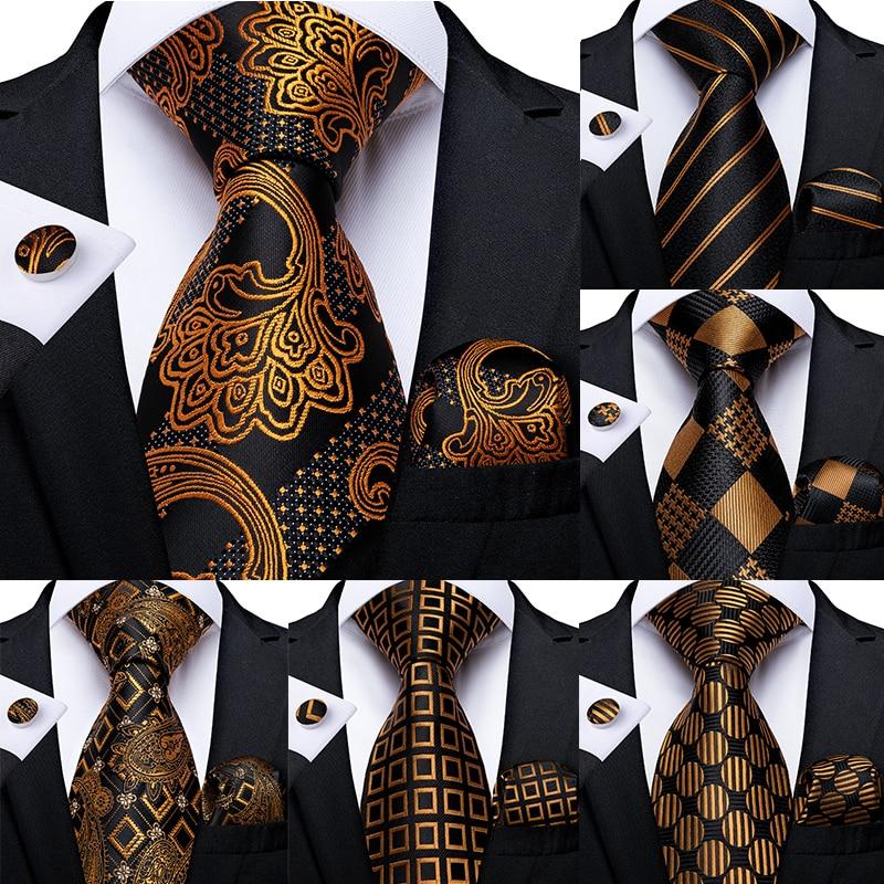 Gift Men Tie Gold Black Striped Paisley Silk Wedding Tie For Men DiBanGu Design Hanky Cufflink Quality Men Tie Set Dropshipping