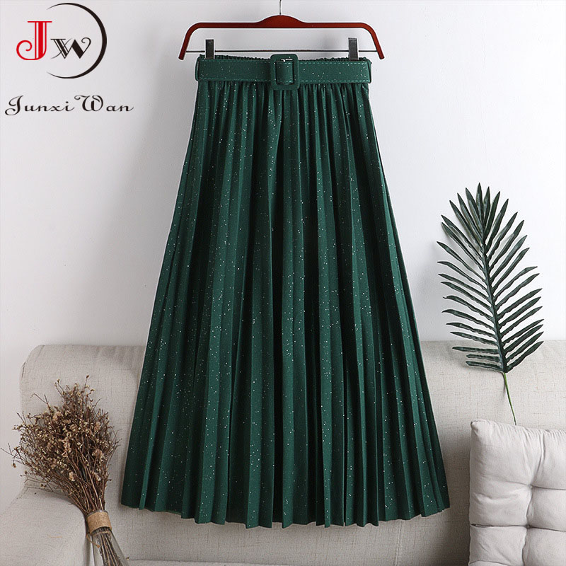 Fashion Shiny Pleated Skirt 2021 Spring Autumn Winter Solid High Waist With Belt A-Line Elegant Retro Vintage Office Long Skirt