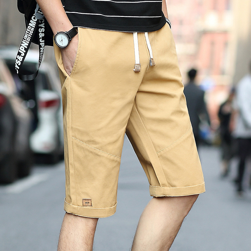 Summer Shorts Men's Loose Breeches Pure Cotton Five 6 Points In Pants Men's Korean-style Trend Slim Fit Thin Capri Pants
