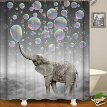 Shower Curtains Bathroom-Decor Wholesale Animal 3d-Print for Customized-Size Image Elephant