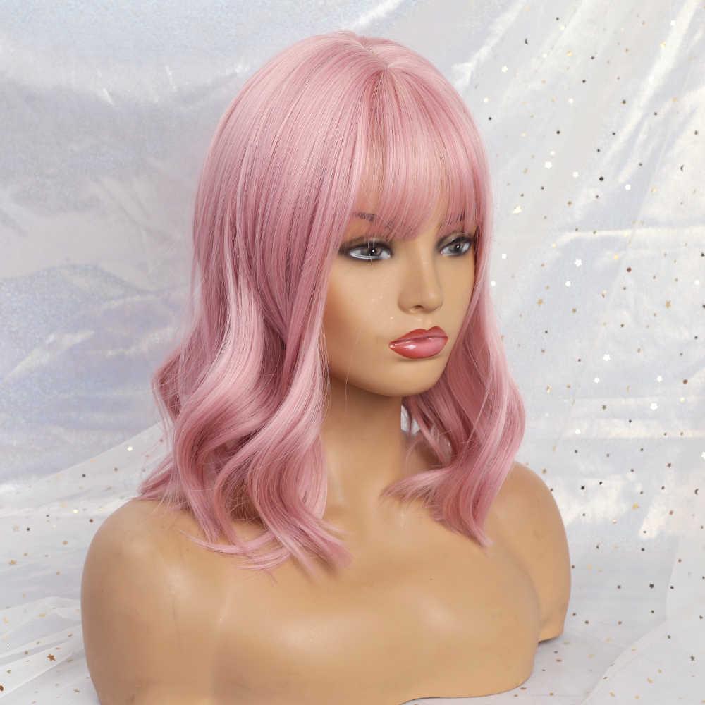 EASIHAIR o krótkiej fali peruki z grzywką różowe peruki syntetyczne dla czarnych kobiet ciało faliste Cosplay peruki włosy z włókna wysokowytrzymałego