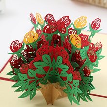 3D Flower Greeting Cards Pop Up Cards Postcards Birthday Gift Party Christmas Invitations Handcrafted Mother's Day Gift
