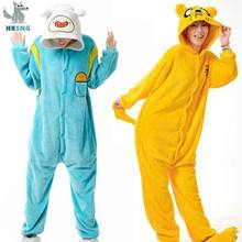 Hksng Nieuwe Link Volwassen Finn En Jake Rompers Adventure Time Kostuum Geel Hond Pyjama Animal Halloween Party Jumpsuits Kigurumi(China)
