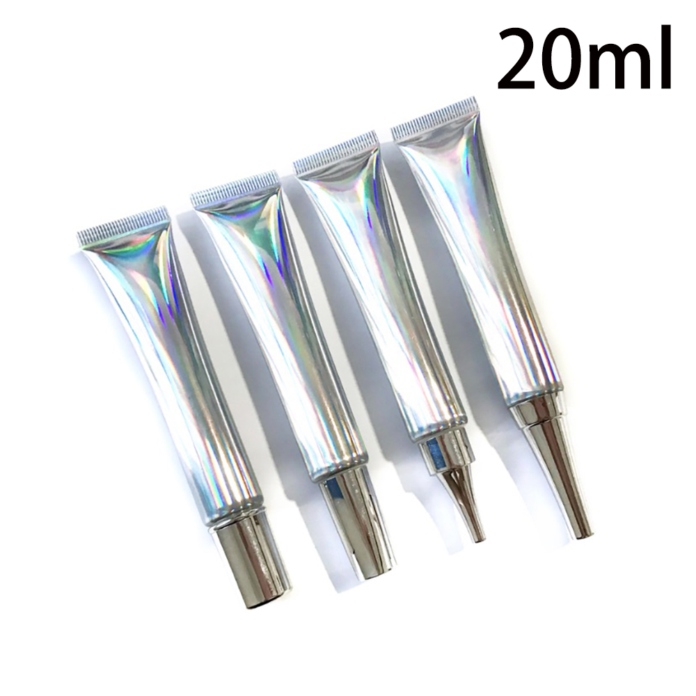 20ml 20g Plastic Squeeze Bottle Silver Empty Cosmetic Eye Cream Soft Tube Pretty Lipgloss Containers 30pcs Free Shipping