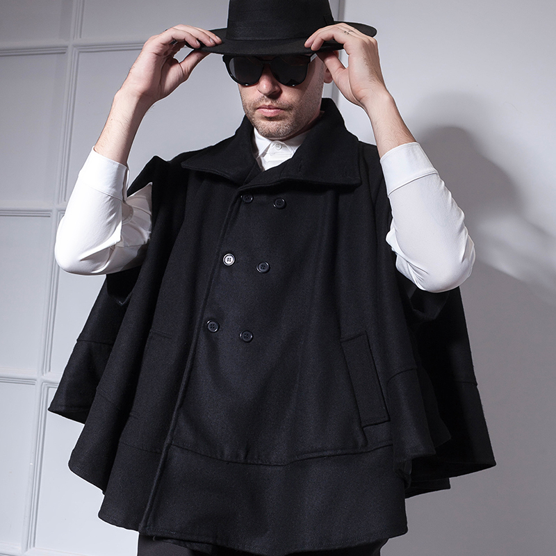 Short cape coat men's double-breasted bat shirt cape coat autumn and winter European and American wild personality tide men's cl