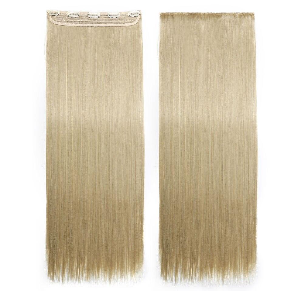 S-noilite, накладные волосы на заколках, черный, коричневый, натуральные, прямые, 58-76 см, длинные, высокая температура, синтетические волосы для наращивания, шиньон - Цвет: ash blonde mix 613