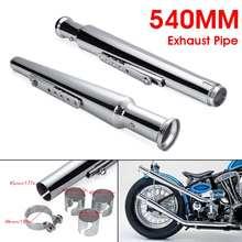 Muffler Silencer Bobber Exhaust-Pipe-Tube Cafe Racer Chopper Custom Motorcycle Retro