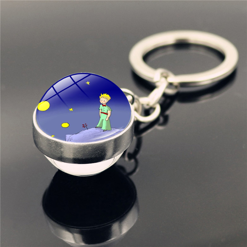 Little Prince Keychain Pendant Fashion Double Sided Glass Ball Keychain Le Petit Prince Jewelry Key Ring Holder Gifts For Kids