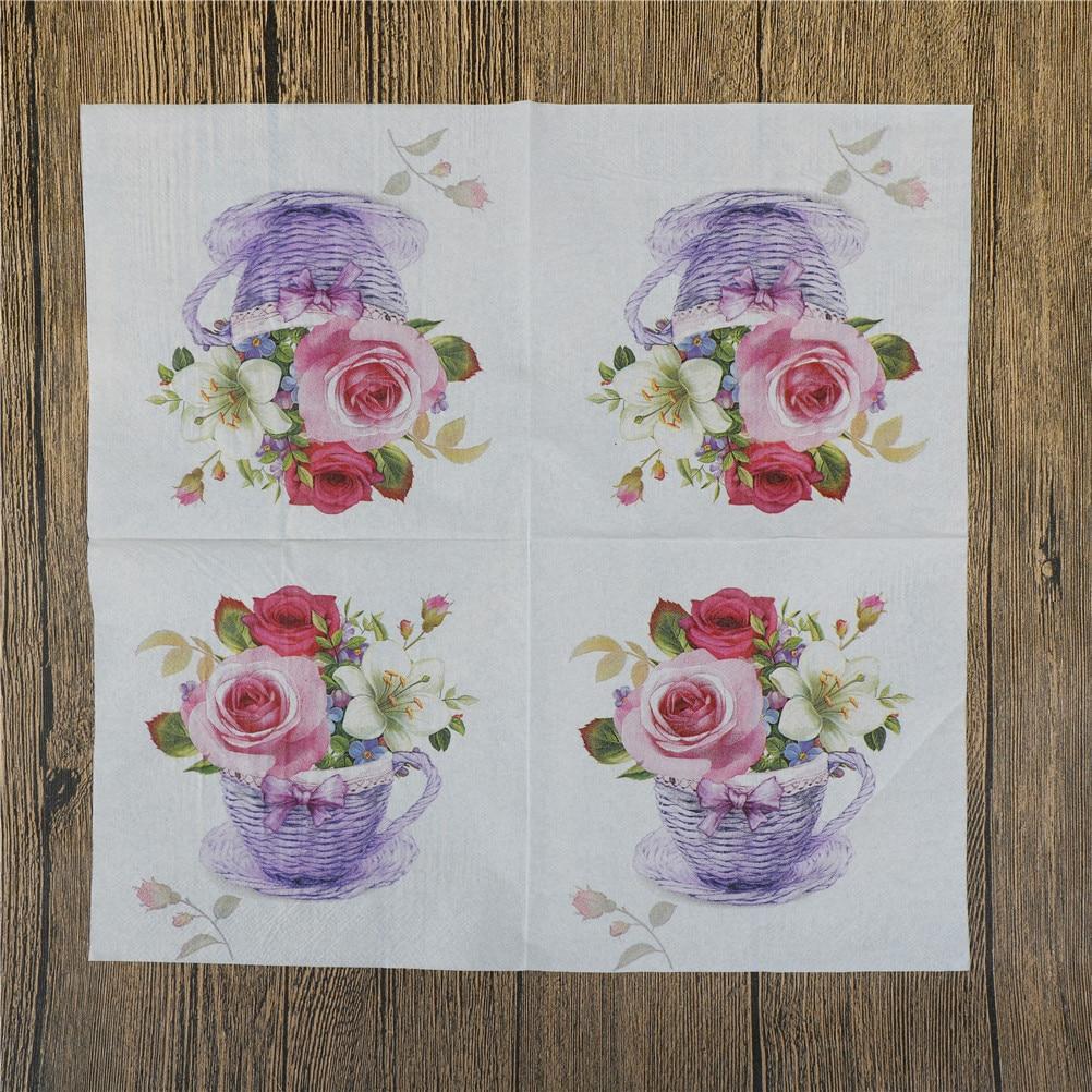 20Pcs/lot Napkins Decoupage Decoration Festive Party Supplies New Floral Flower Theme Paper Napkins Tissue