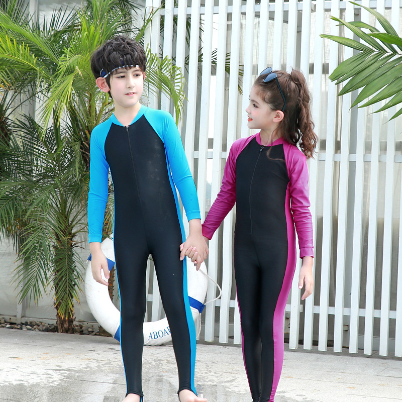 KID'S Swimwear BOY'S Big Boy Long Sleeve Trousers Siamese Swimsuit Baby Boy Hot Springs Diving Suit Jellyfish Clothing