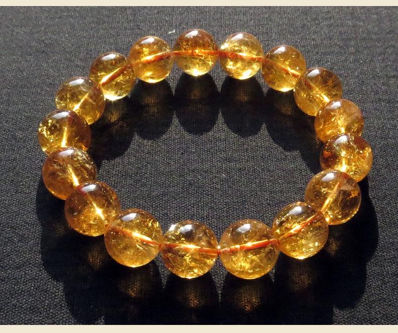 Natural Citrine Yellow Gemstone Round Beads Men Women Bracelet Wealthy Love New Gift Bracelet 10mm 11m 12mm 13mm 14mm AAAAA