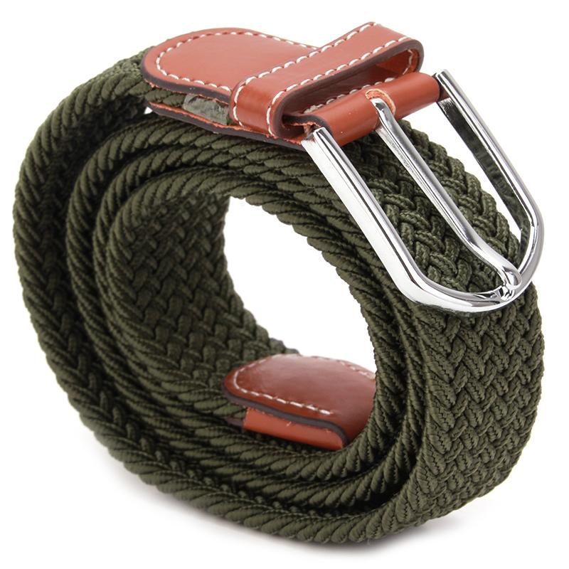 New Fashion Men Elastic Knitted Belt Metal Buckle Waist Strap High Quality Military Army Tactical Belt 6 Colors