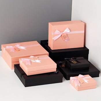 Simple Pink Bow paper packaging gift box Birthday lipstick cosmetic Valentine s Day коробка упаковка подарочная пакет