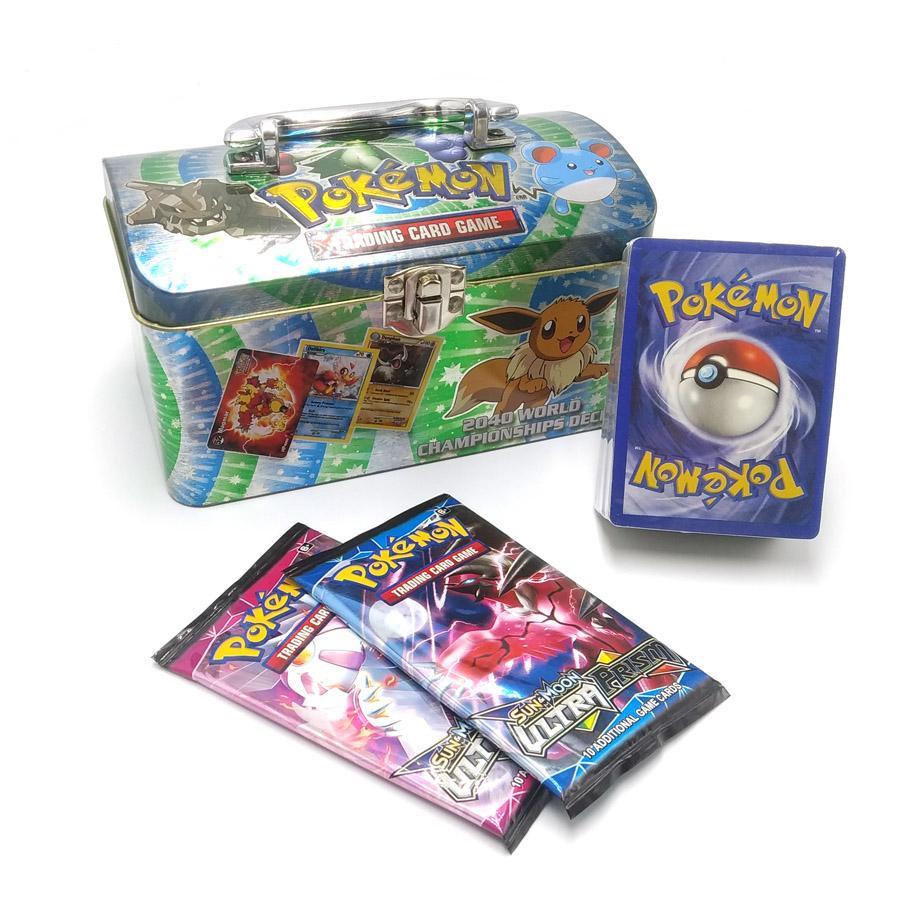 New POKEMON Card English Pokemon Ptcg Round Tin Can 98 Cards Per Box Battle Collection Card Box Kids Toy Gift