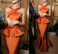 2020 Nuovo Sirena Abiti da Sera Lunghi Abiye Raso Ruffles Peplo Vestito Convenzionale Arancione Robe De Soiree di Sera di Promenade Del Partito Abiti