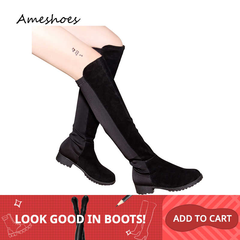 2019 AME Giày Phong Cách Gợi Cảm Trên Đầu Gối Giày Nữ Co Giãn Giày A221