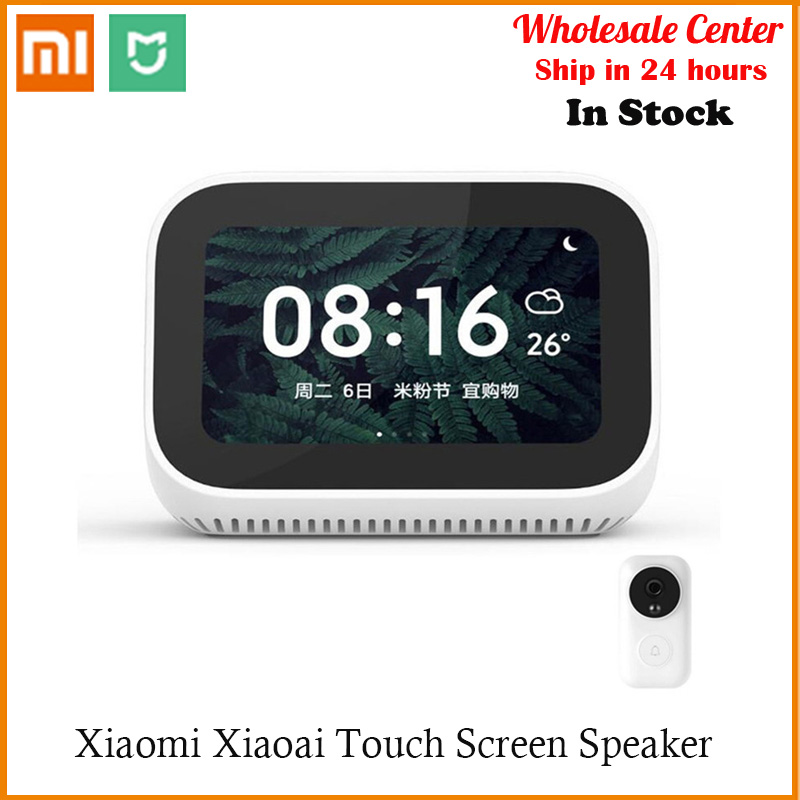 In Stock AI Touch Screen Bluetooth Xiaomi Alarm Clock WiFi Smart Connection 5.0 Speaker Digital Display Speaker Mi speaker|Smart Remote Control| |  - title=
