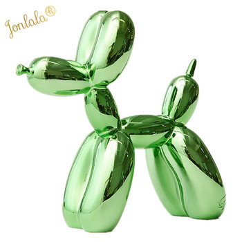 Green Metallic Plating Balloon Dog Statue Dog Ornaments Resin Office Living Room Home Soft Decorations Creative Simulation Craft