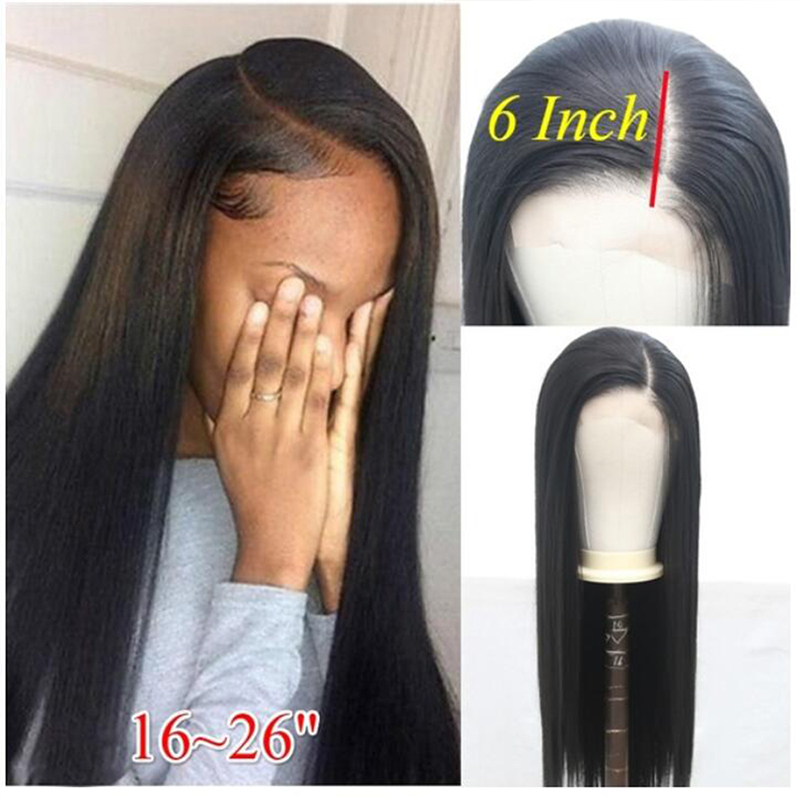 QUINLUX WIGS 13x6 Deep Part Black Long High Temperature Heat Fiber Hair Silky Straight Synthetic Lace Front WIgs With Side Part