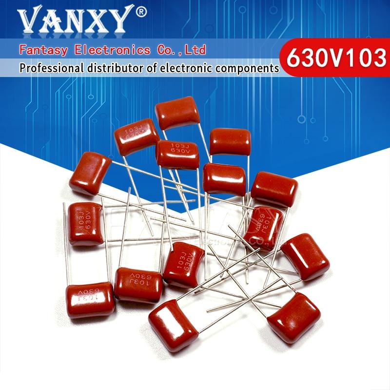 10 шт. 630V103J 0,01 мкФ высокого разрешения 10 мм 10NF 630V 103 CBB полипропиленовый пленочный конденсатор с алюминиевой крышкой