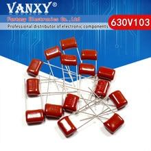 10 pces 630v103j 0.01uf passo 10mm 10nf 630v 103 capacitor de filme de polipropileno cbb