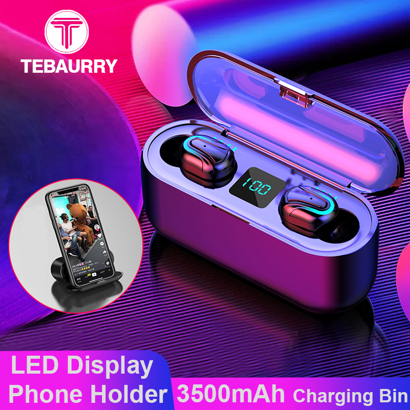 3500 mAh TWS Bluetooth Earphone 5.0 Wireless Headphones 6D Bass Stereo Mini Wireless Headset with LED Power Display Phone Holder