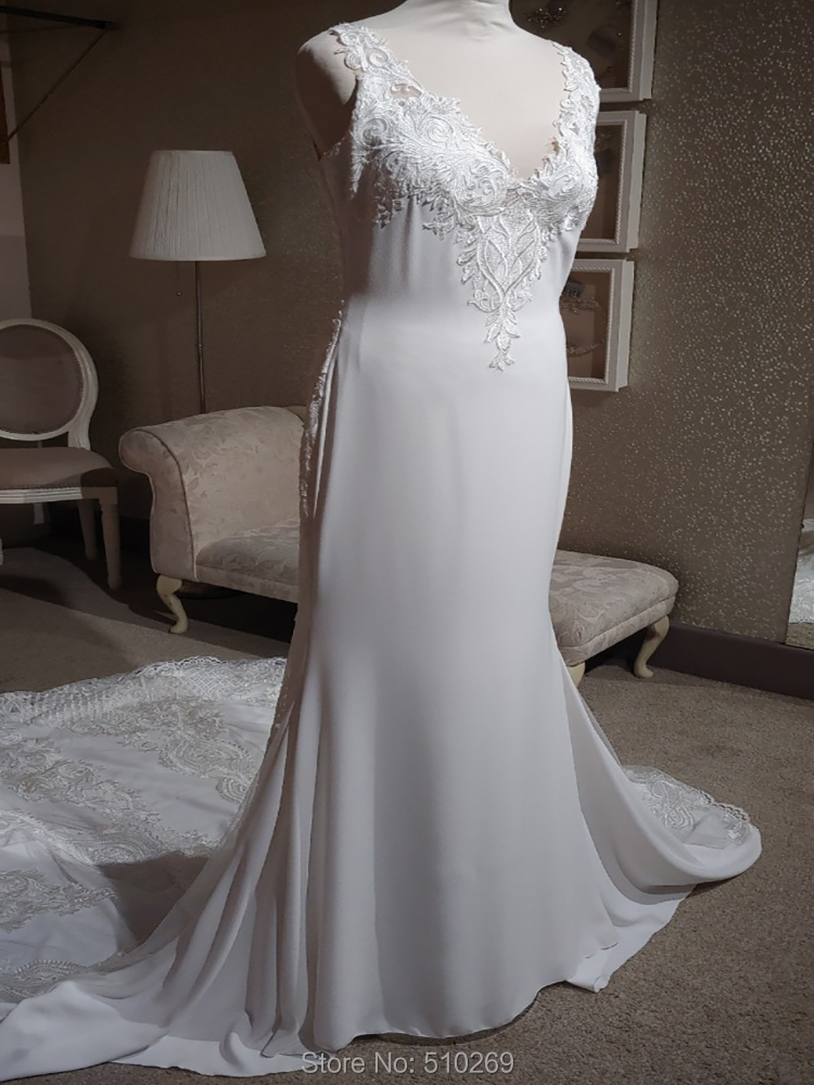 Mermaid Soft Crepe Embroidered Tulle Beaded Application V Neck Sheer Straps Illusion Back Wedding Dresses Bridal Gowns