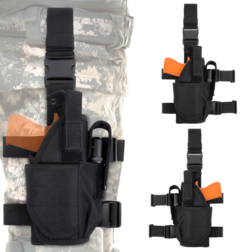 600D Tactical Pistol Drop Leg Pouch Left Right Hand Thigh Holster Bag Universal Hand Gun Flashlight Pouch for Outdoor Hunting image
