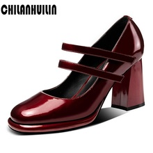 new brand designer shoes woman pumps fashion patent leather high heels black wine red women Mary Janes dress party
