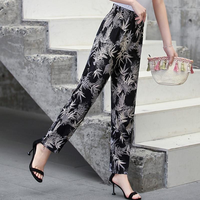 22 Colors 2020 Women Summer Casual Pencil Pants XL-5XL Plus Size High Waist Pants Printed Elastic Waist Middle Aged Women Pants 17