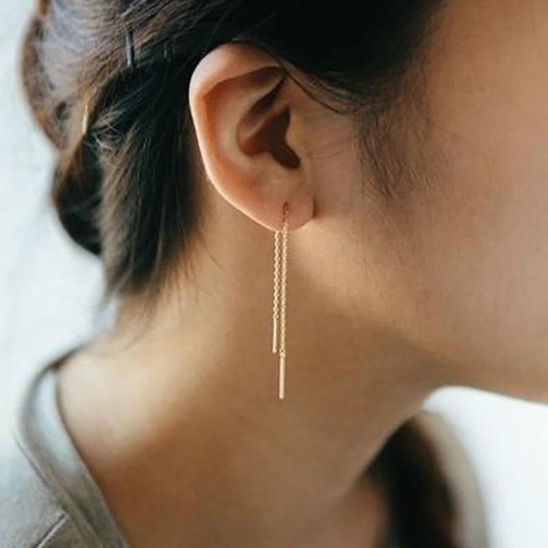 Line Ear Threader Ear Line Dangle Earrings Thread Dangle Chain Pull-through Wire Earrings Silver, Gold Or Rose Gold