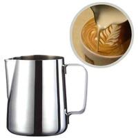 ステンレス鋼ミルク泡立てジャグミルククリームカップコーヒークリーマーラテアートスパウトでピッチャー耐久性のあるキッチンコーヒーアクセサリー -