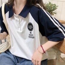 Clothing Polo-Shirt Tops Short-Sleeve Female Large-Size Women's Harajuku Loose Japanese