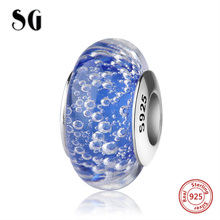 SG silver 925 sparkling Murano glass beads diy dark blue color charms fit original pandora bracelet fashion jewelry gift supply цена