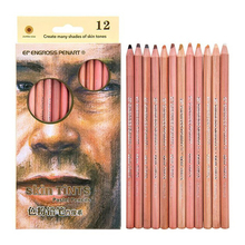 12 Pcs/Set Professional Soft Pastel Pencils Colores Wood Skin Tints Pastel Colored Pencil For Drawing School Stationery Supplies