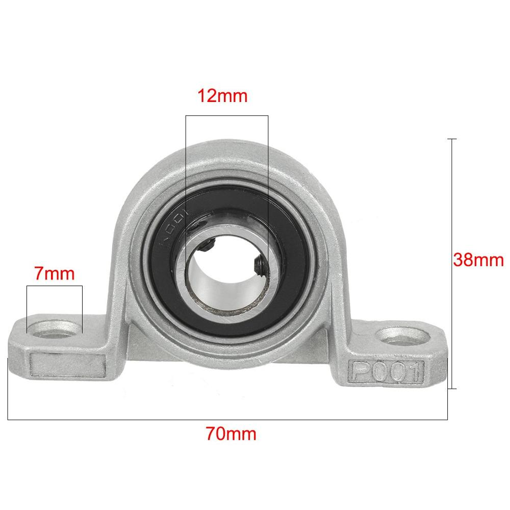 2Pcs Pillow Block Bore KP001 12mm Inner Diameter Zinc Alloy Metal Ball Bearing 12MM
