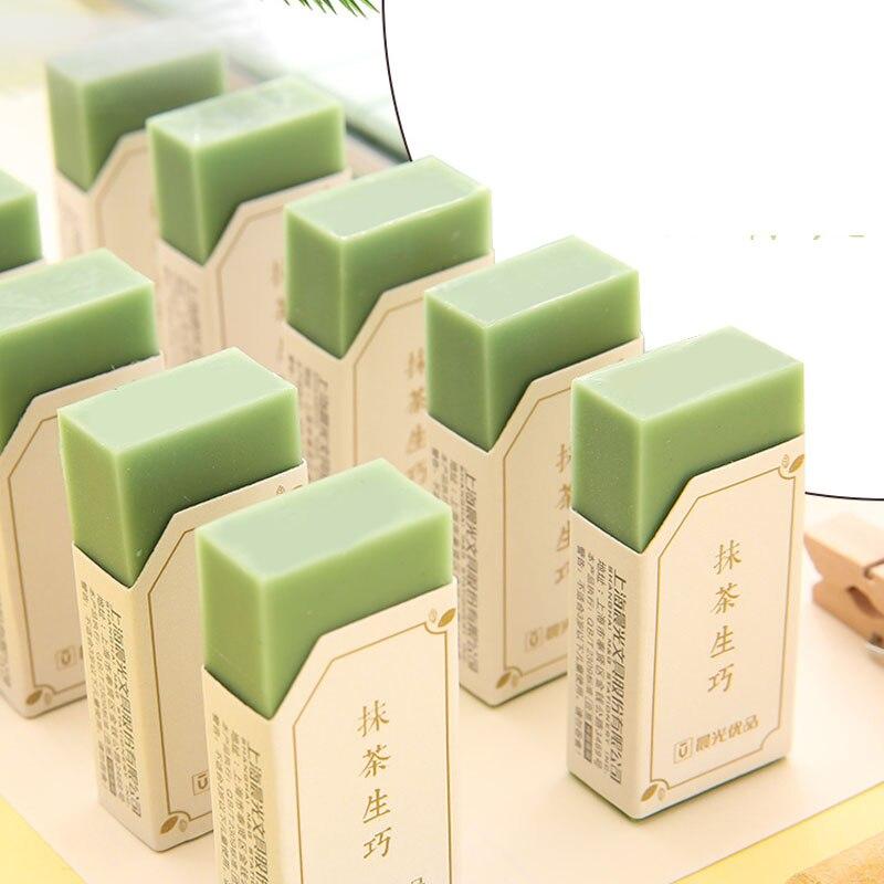 3pcs/lot Matcha Green 4B Eraser Fresh Colored Erasers For Kids School-supplies Eraser Pencil Cute Rubber Eraser