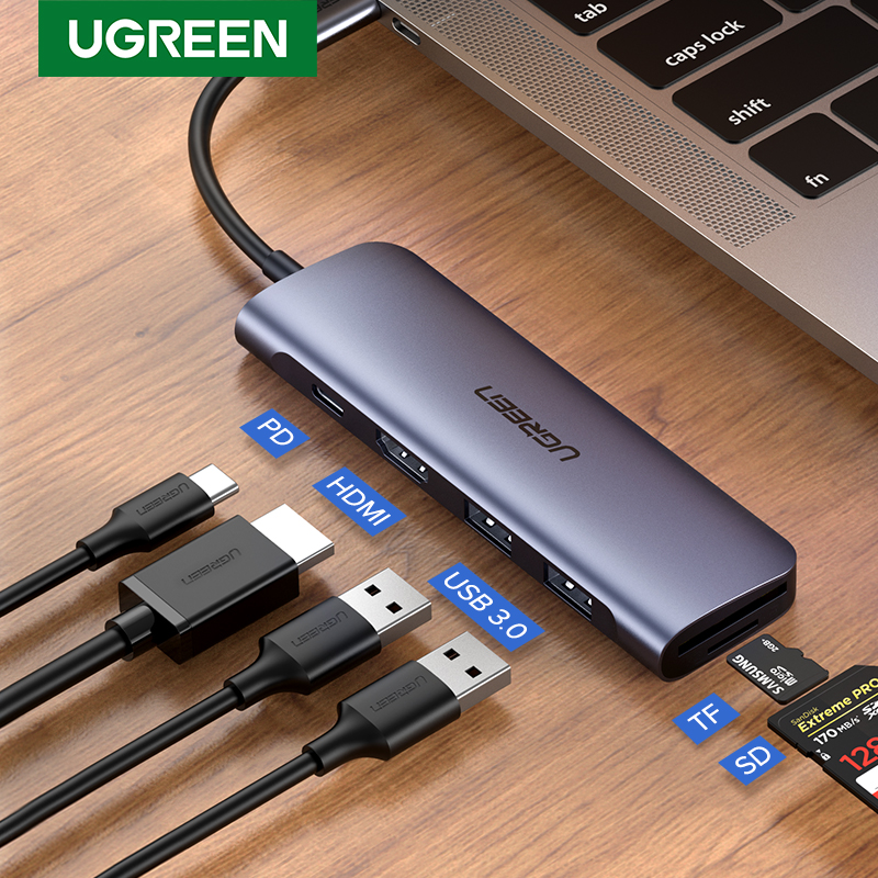 Ugreen USB C 허브 유형 C-멀티 USB 3.0 허브 MacBook Pro 용 HDMI 어댑터 독 화웨이 메이트 30 USB-C 3.1 분배기 포트 유형 C 허브