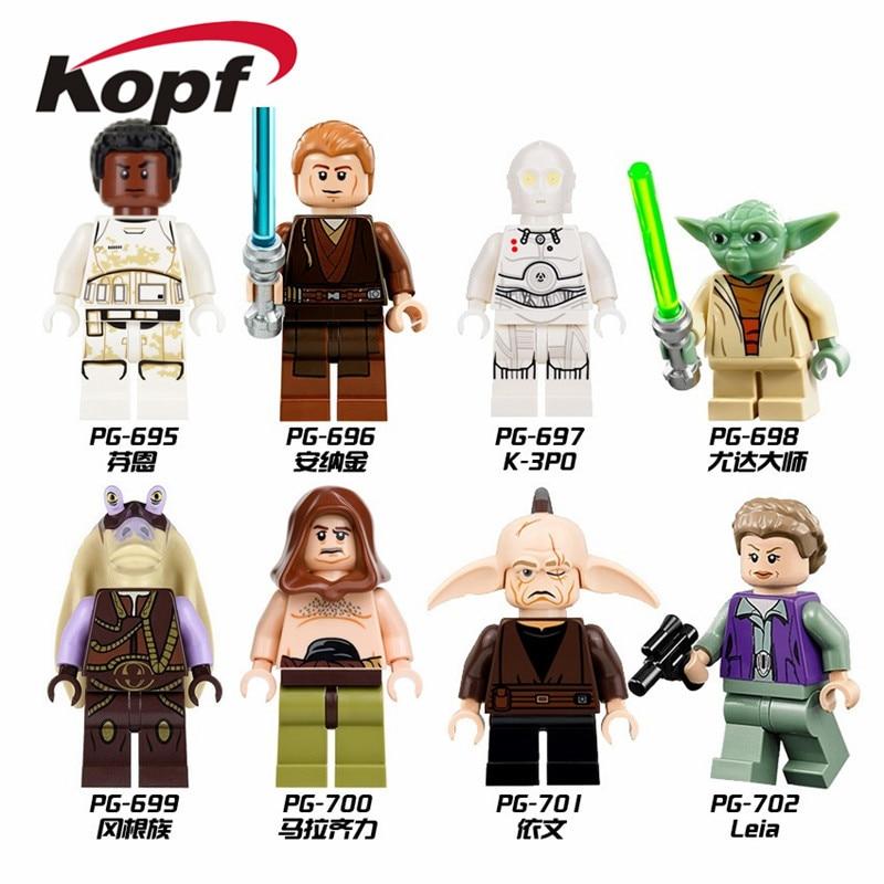 Super Heroes Space Wars Finn Stormtrooper Starwars Fighter Princess Leia Legoed Building Blocks Bricks Children Gift Toys PG8049