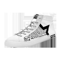 Spring and autumn new men`s Canvas vulcanized shoes Fashion geometric pattern Graffiti casual High top white shoes