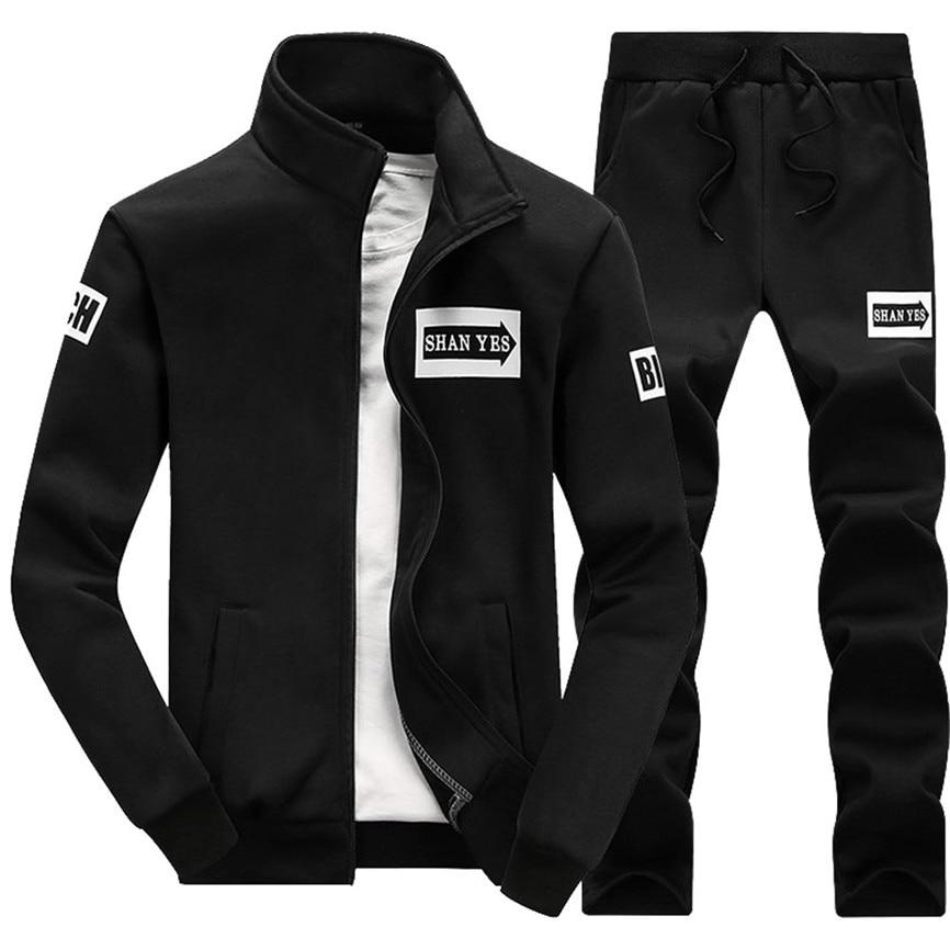 Men's Coats And Jackets Autumn Winter Thicken Sweatshirt Top Pants Sets Sports Suit Tracksuit Men's Jacket 2019 Hip Hop