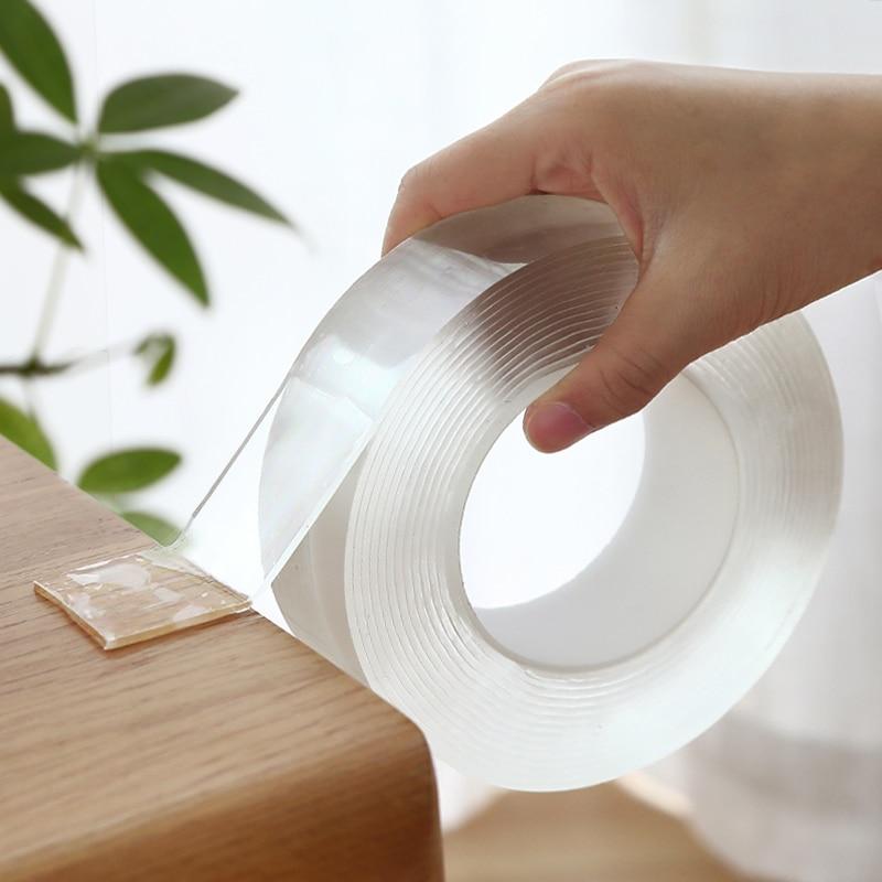 Прозрачная Волшебная нано лента моющаяся многоразовая Двухсторонняя клейкая лента нано-без следов паста съемный клей Очищаемый бытовой