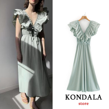 Za 2020 sexy women dress ruffles V neck short sleeve bow tie sashes long dresses female A-line summer vestidos mujer short sleeve self tie dolman dress