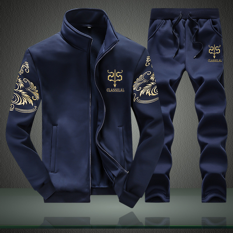 Spring And Autumn Thin Men Stand Collar Embroidery Slim Fit Jacket Youth Large Size Leisure Sports Suit Men's