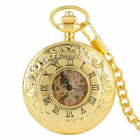 Reloj De Bolsillo De esqueleto mecánico antiguo De oro De lujo doble abierto con números romanos Colgante con cadena Fob Reloj De Bolsillo