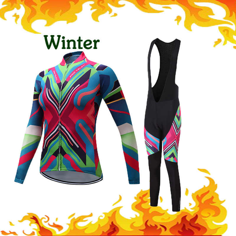 Winter Women Cycling Jersey Thermal Fleece Clothes Bicycle MTB Clothing Road Bike Set Bib Pants Kit Triathlon Skinsuit Maillot