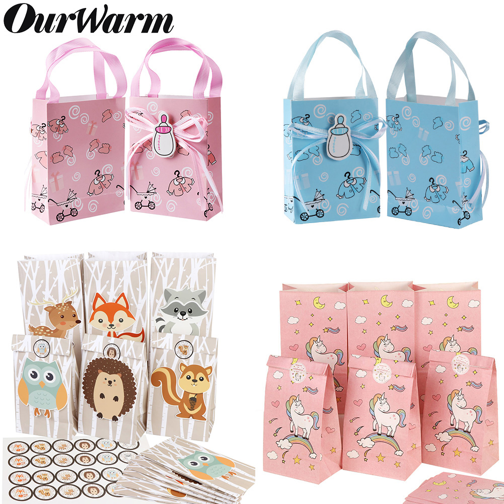 OurWarm 12Pcs Paper Gift Bag Unicorn Birthday Party Decorations Animal Candy Bag Baby Shower Boy Girl Party Supplies Popcorn Box