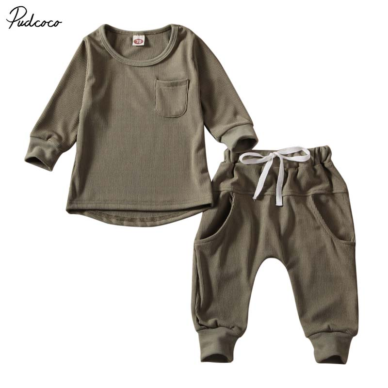 Infant Kids Baby Boy Pocket Shirt Tops+Pants Trousers 2PCS Casual Outfit Clothes