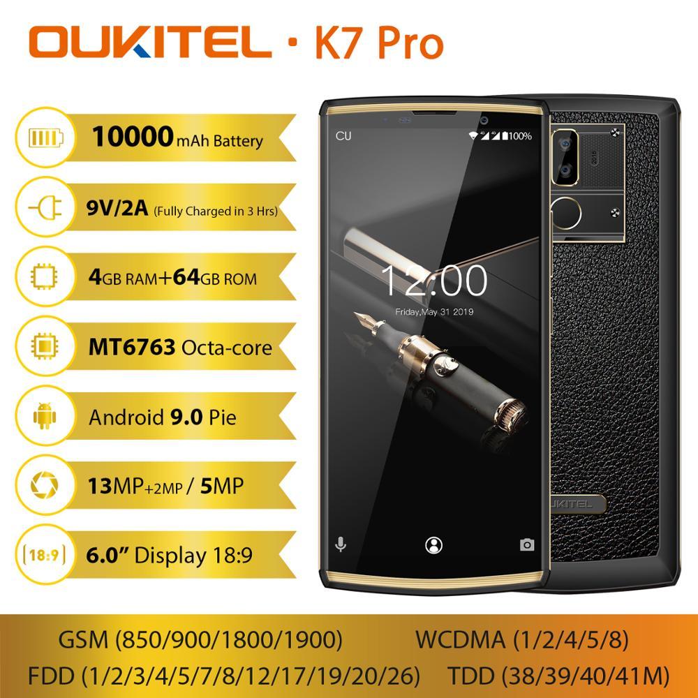 "OUKITEL K7 Pro 4G RAM 64G ROM Smartphones 6.0 ""FHD + 189 10000mAh Impressão Digital 9V /2A Android 9.0 MT6763 Octa Telemóvel Núcleo"